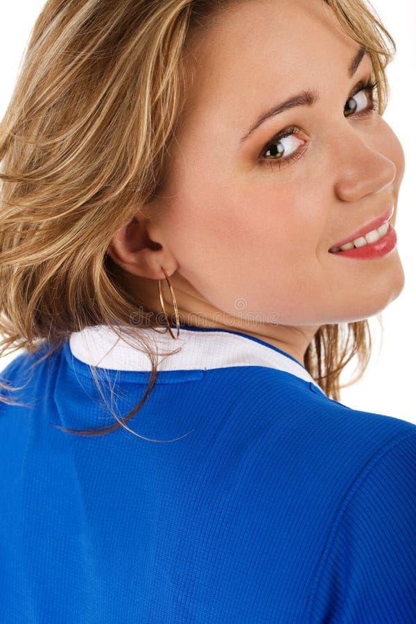 Frau im blauen T-Shirt stockbilder