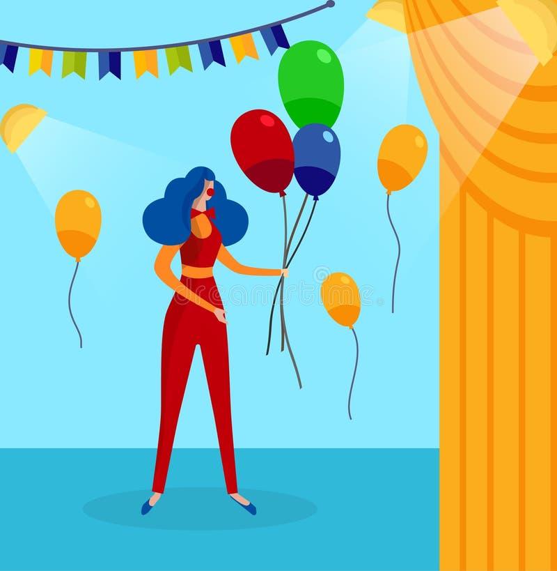 Frau im Clown Costume auf Bühne hinter dem Vorhang-Hintergrund stock abbildung