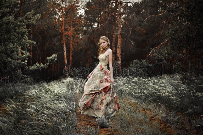 Frau im feenhaften Wald lizenzfreies stockfoto
