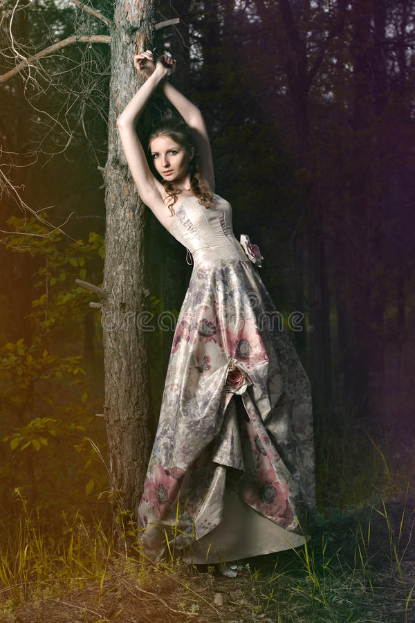 Frau im feenhaften Wald lizenzfreie stockbilder