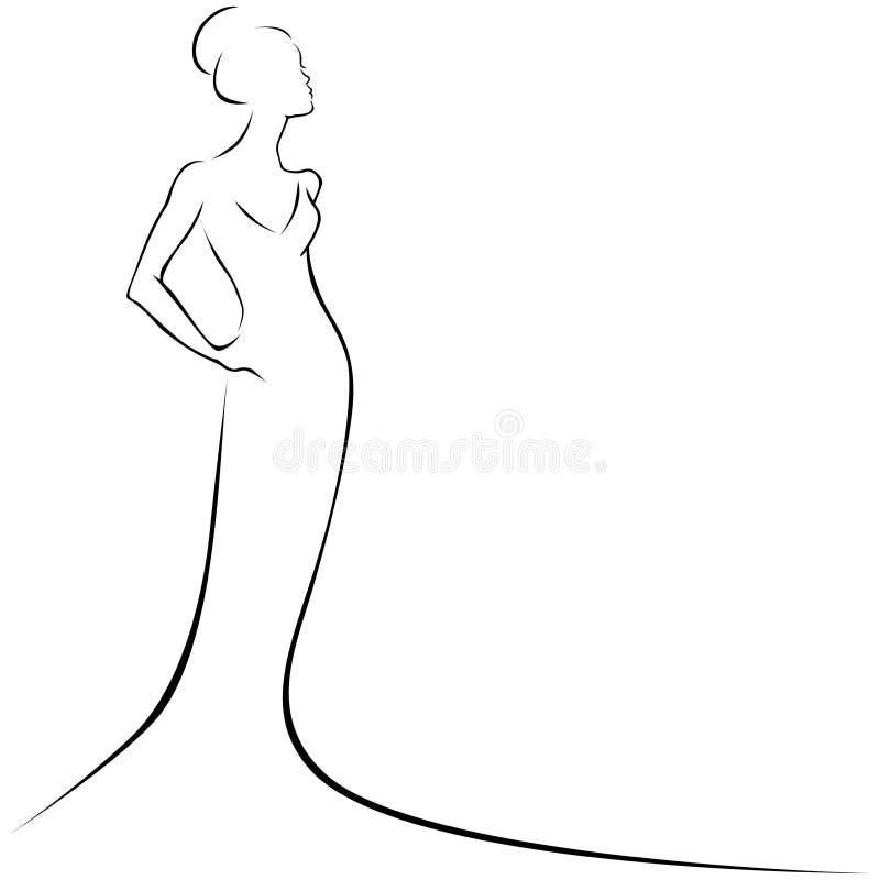 Frau im formalen Kleid vektor abbildung. Illustration von skizze ...