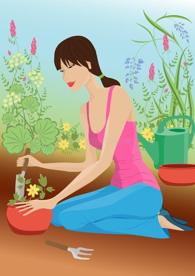 Frau im Garten stock abbildung