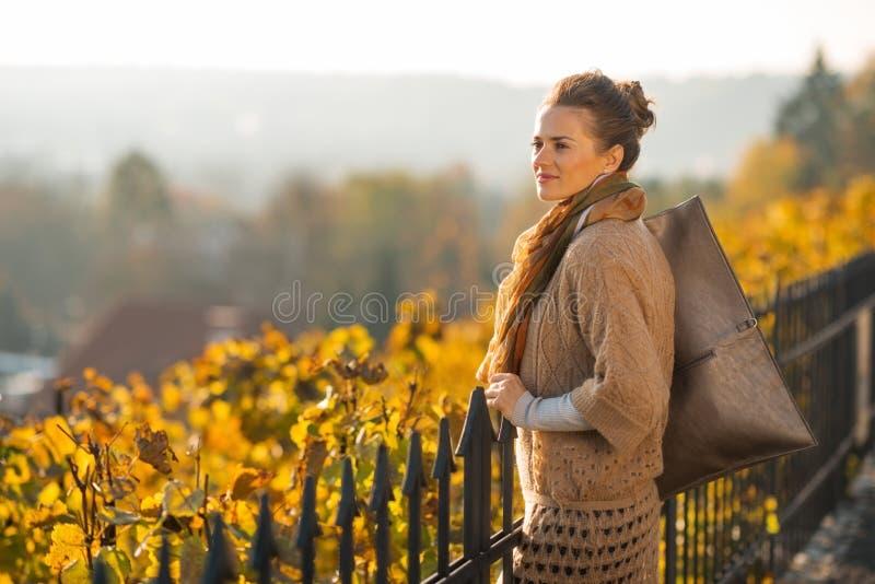 Frau im Herbst, der draußen Abstand untersucht stockbild
