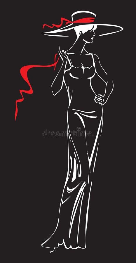 Frau im Hut stock abbildung