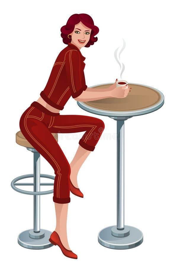Frau im Kaffee vektor abbildung