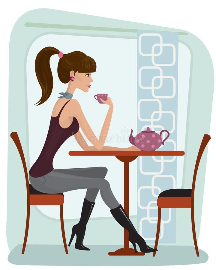 Frau im Kaffee stock abbildung