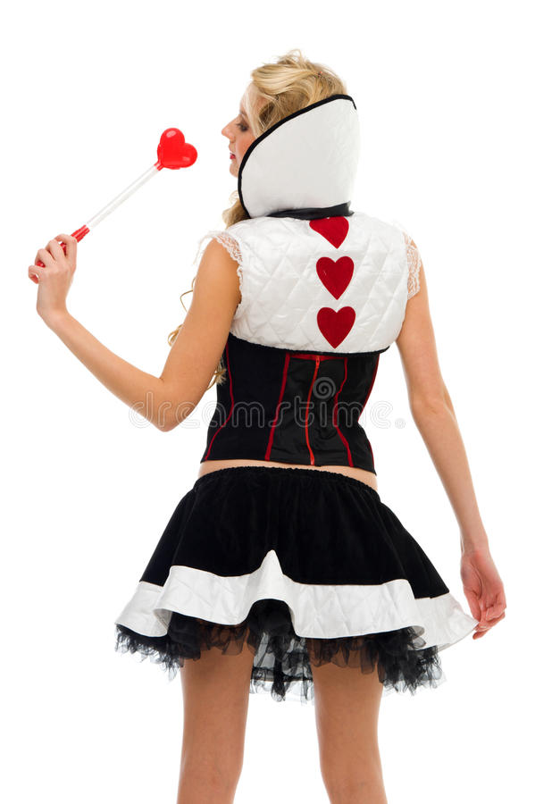 Frau im Karnevalskostüm. Dominoform stockbild