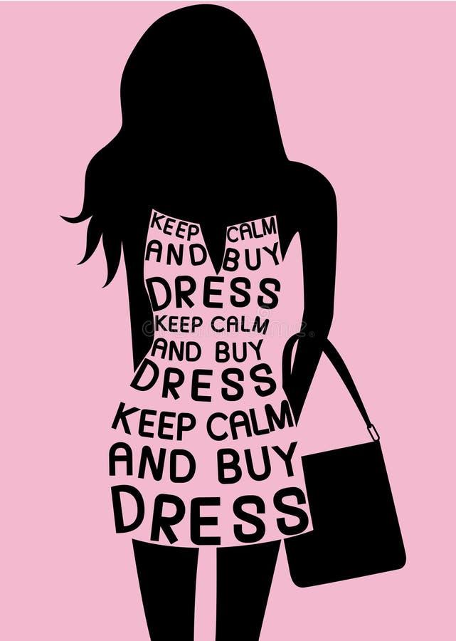 Frau im Kleid von den Zitaten lizenzfreie abbildung