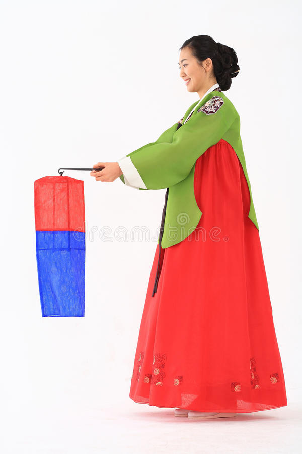 Frau im koreanischen Kleid stockbilder