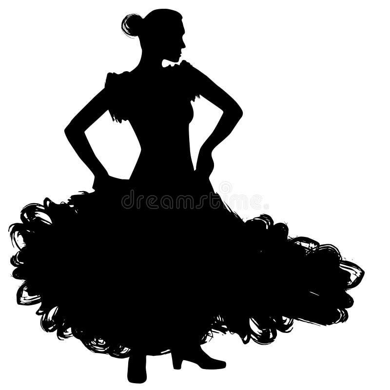 Frau im langen Kleideraufenthalt in der Tanzenhaltung Flamencotänzer Spanish-Regionen von Andalusien, Extremadura Murcia schwarze vektor abbildung