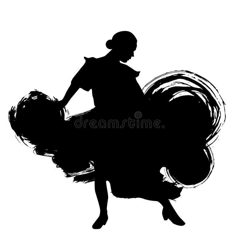 Frau im langen Kleideraufenthalt in der Tanzenhaltung Flamencotänzer Spanish-Regionen von Andalusien, Extremadura Murcia schwarze lizenzfreie abbildung