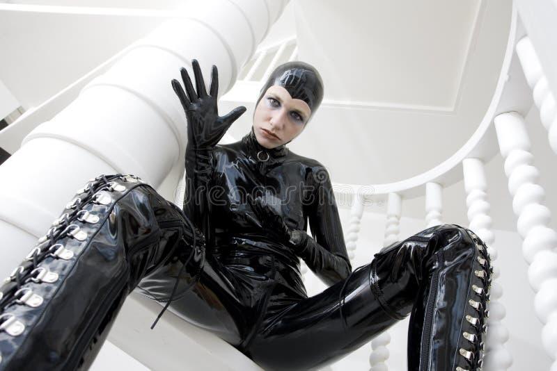 Frau im Latex stockbilder
