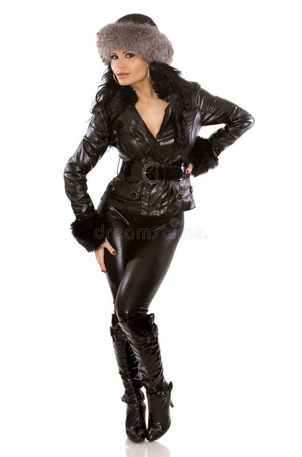 Frau im Leder lizenzfreies stockfoto