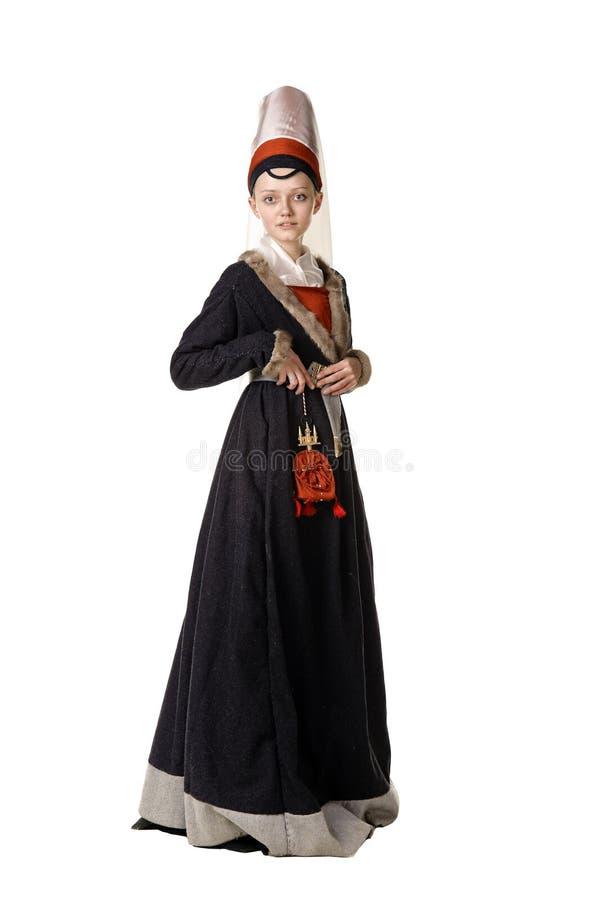 Frau im mittelalterlichen Ärakleid lizenzfreies stockfoto