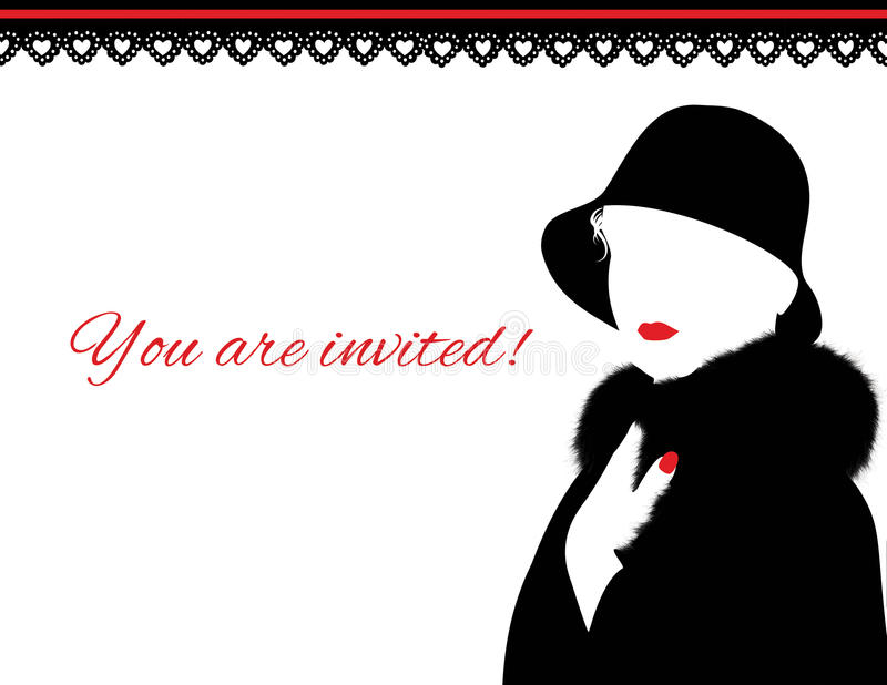 Frau im Pelz-Mantel und in der roten Lippeneinladung lizenzfreie stockbilder