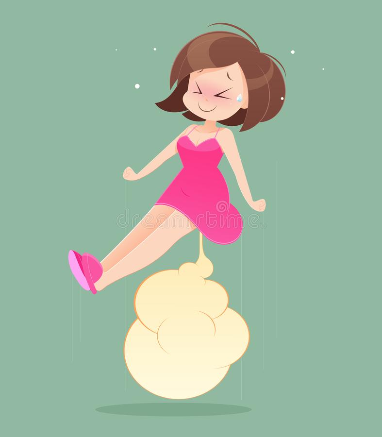 Frau im rosa Nachthemd farting vektor abbildung