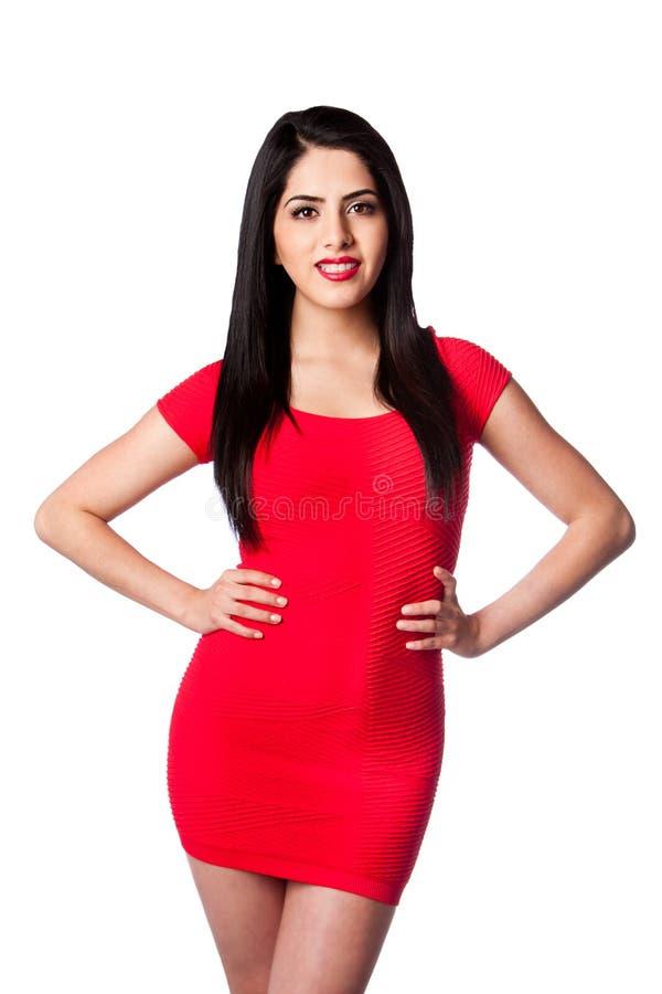 Frau im Rot stockbild