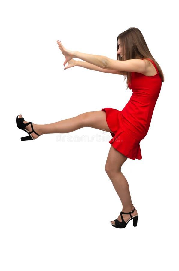 Frau im roten Kleid lizenzfreies stockfoto