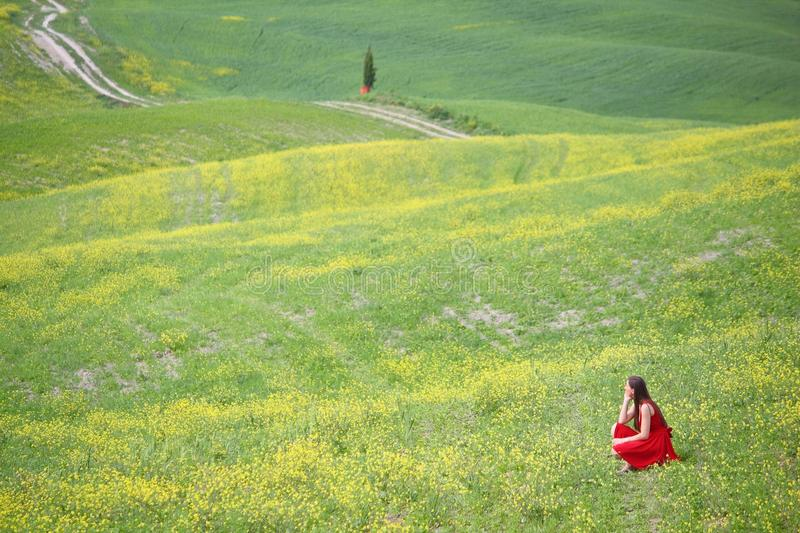 Frau im roten Kleid stockfoto