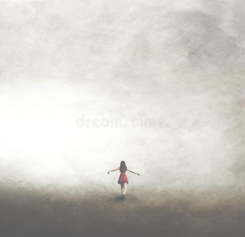 Frau im roten Kleid gehend in Richtung zur Unendlichkeit lizenzfreie stockfotografie