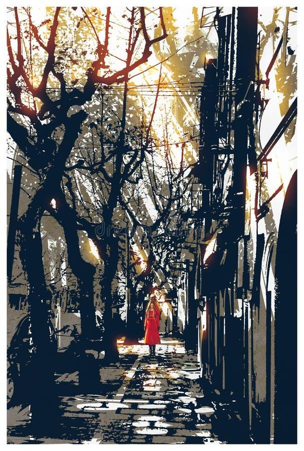 Frau im roten Mantel, der auf Bahn im Stadtpark steht vektor abbildung