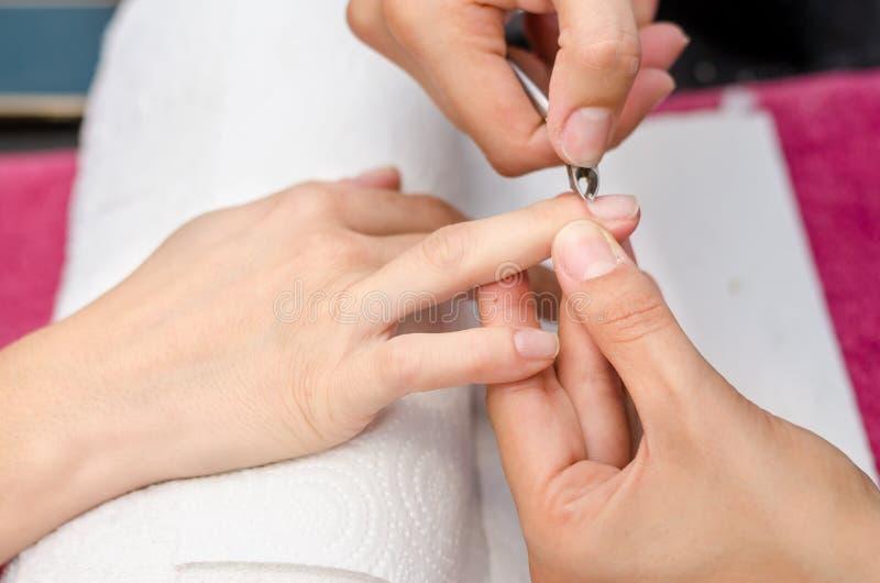 Frau im Salon, der Maniküre durch Nagelkosmetiker empfängt stockfotos