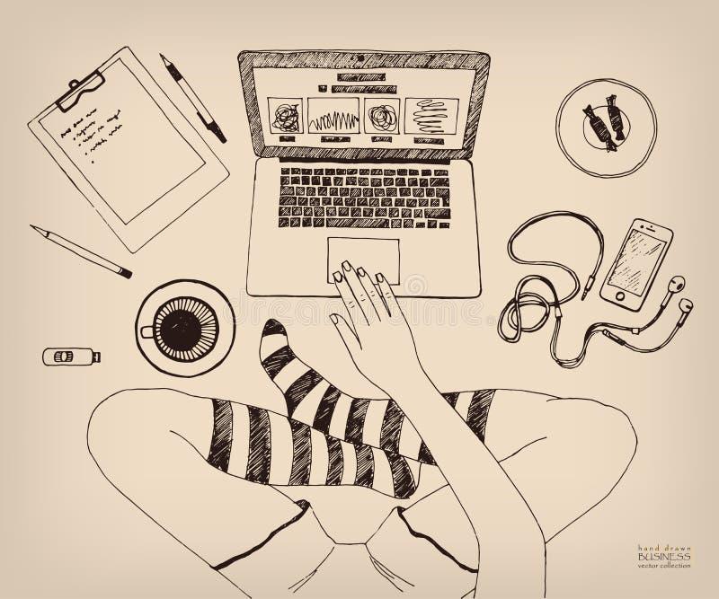Frau im Schneidersitz, die zu Hause an Laptop arbeitet Fahrwerkbeine in den Socken Kreativer Job unabhängig Hand gezeichnete Tint lizenzfreie abbildung