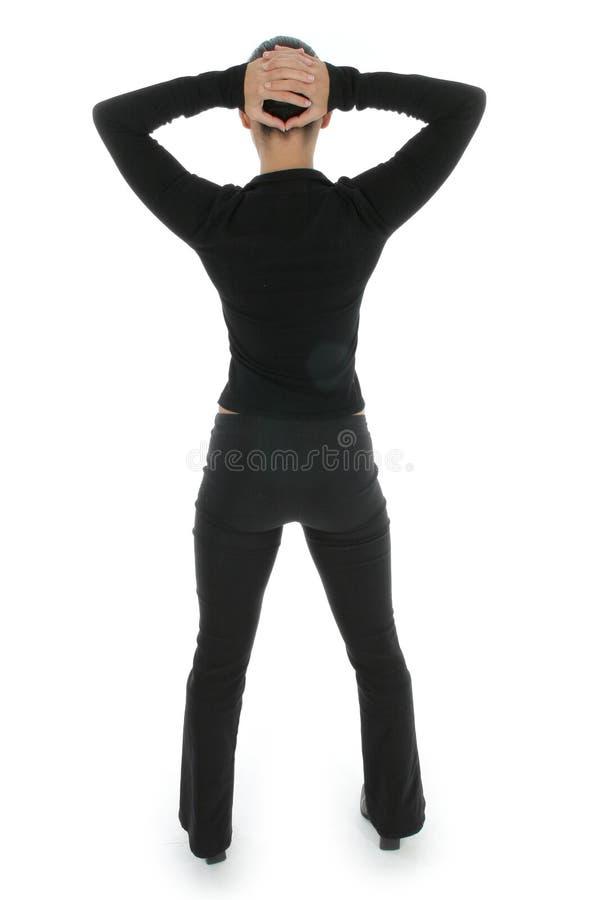 Frau im Schwarzen lizenzfreies stockfoto