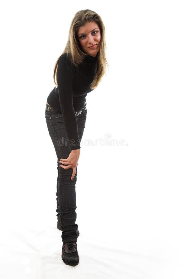 Frau im Schwarzen lizenzfreie stockfotos