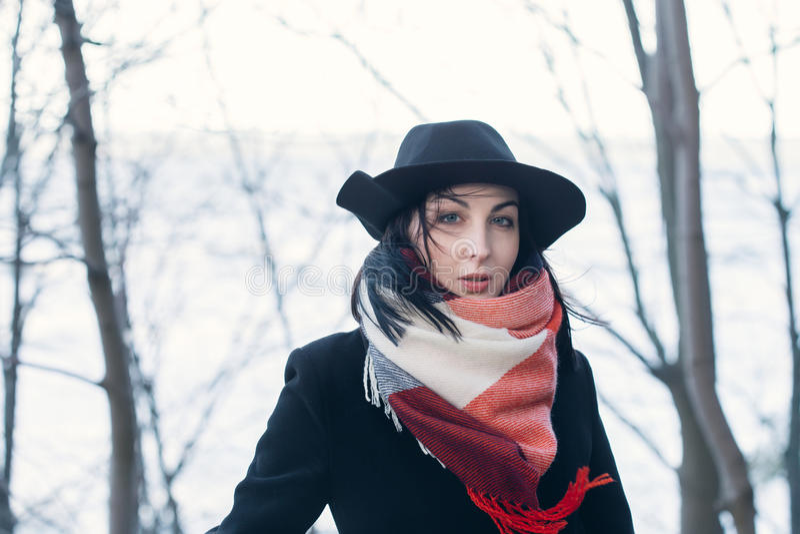 Frau im schwarzen Hut stockfotos
