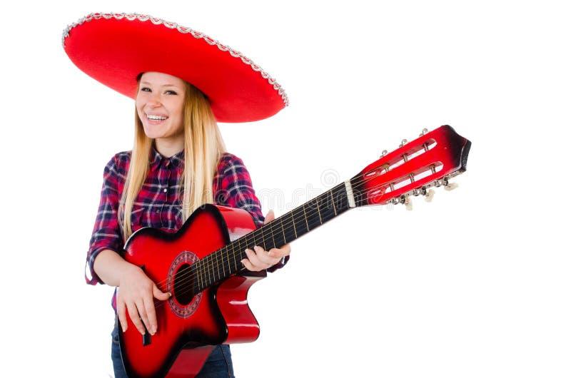 Frau im Sombrero lizenzfreie stockfotografie