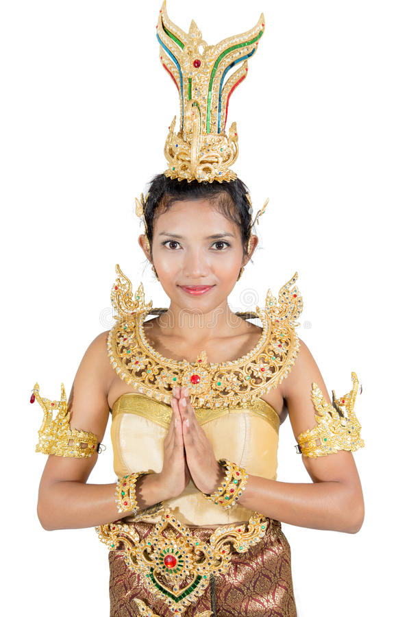 Frau im traditionellen thailändischen Kostüm lizenzfreie stockbilder