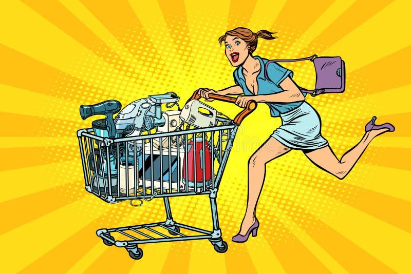 Frau im Verkauf von Haushaltsgeräten Warenkorbshoplaufkatze lizenzfreie abbildung