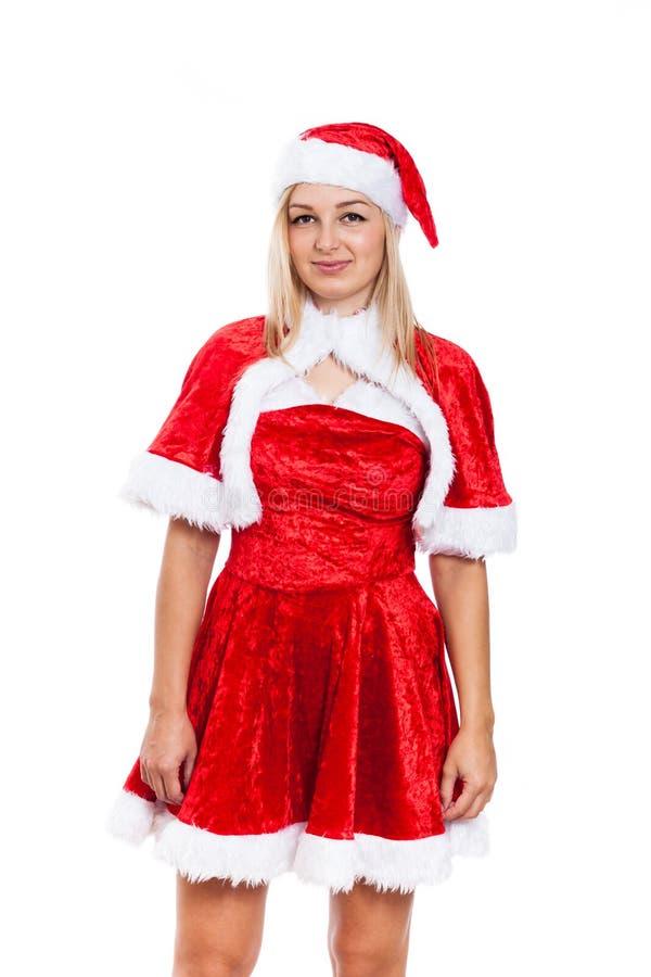 Frau im Weihnachtskostüm stockbild