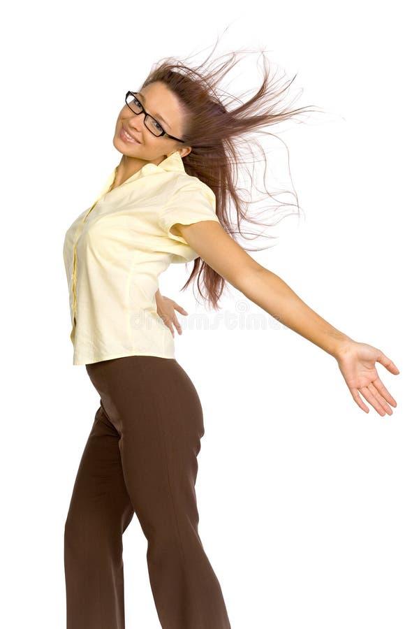 Frau im Wind lizenzfreies stockfoto