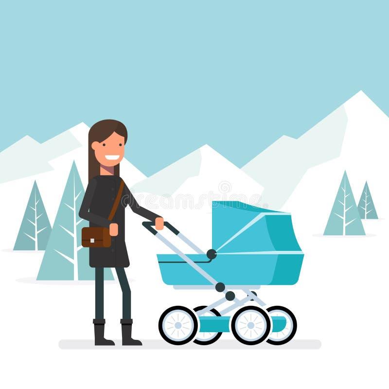 Frau im Winter für einen Weg mit dem Baby im Pram Mädchen mit Tasche auf seiner Schulter gegen den Hintergrund eines Winters stock abbildung