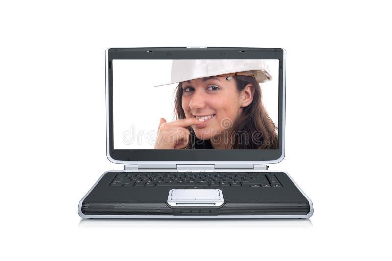 Frau innerhalb eines Laptopbildschirms stockbilder