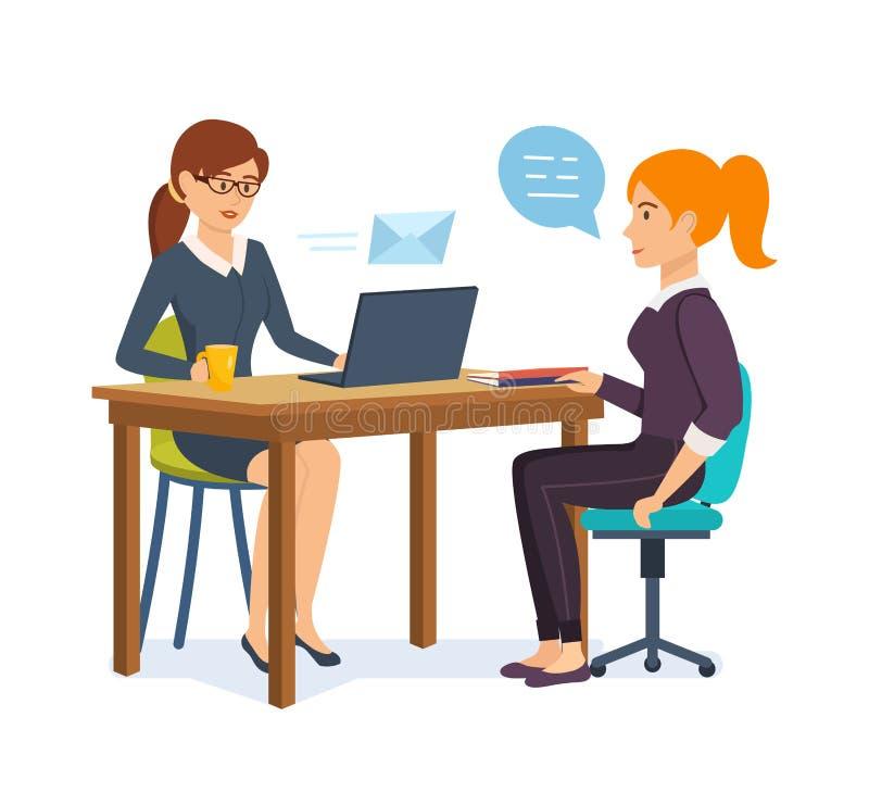 Frau interviewt einen Arbeitgeber mit möglichem Angestelltem, mitteilt, austauscht Informationen lizenzfreie abbildung