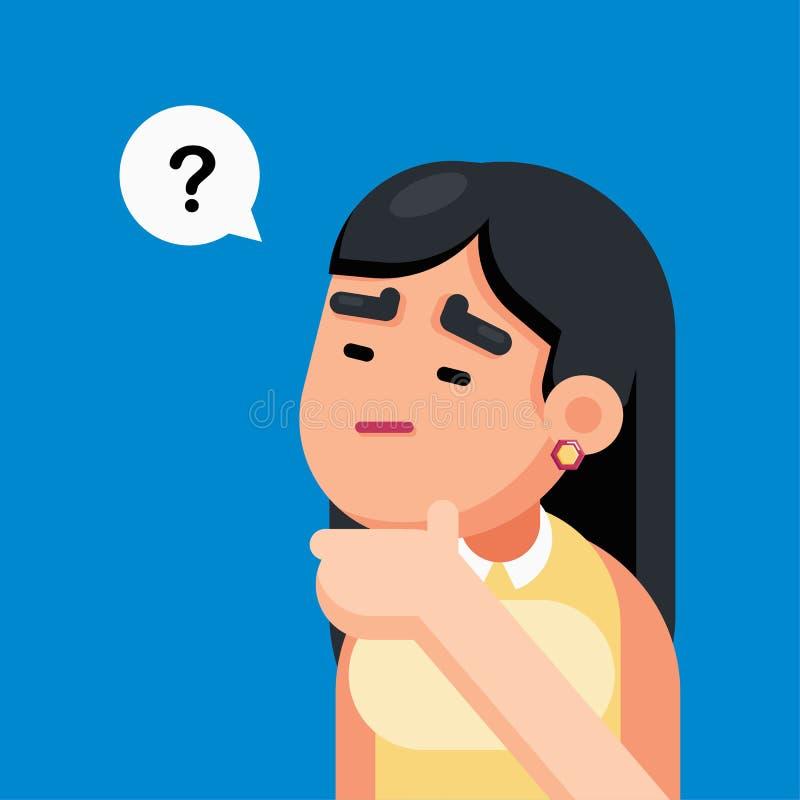 Frau ist verwirrend und denkend mit Fragezeichen, unterzeichnen Sie, Vektorillustration lizenzfreie abbildung