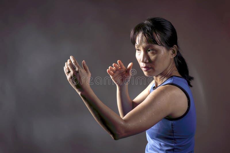 Frau in Kampfposition lizenzfreies stockfoto