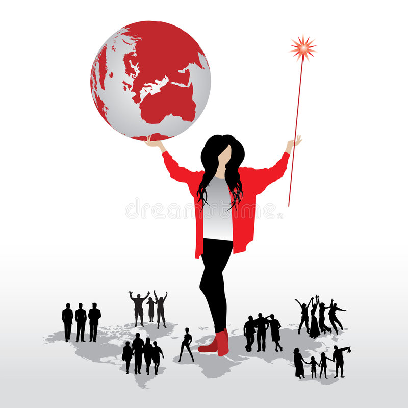 Frau, Kugel, Leute, Weltkarte stock abbildung