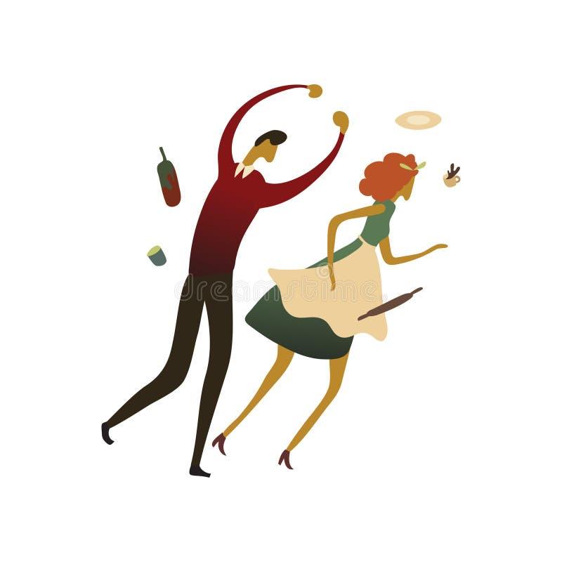 Frau läuft weg von einem schlechten Mann Vektorabbildung auf wei?em Hintergrund vektor abbildung