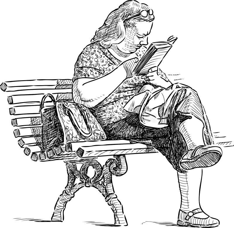 Frau liest auf einer Parkbank stock abbildung