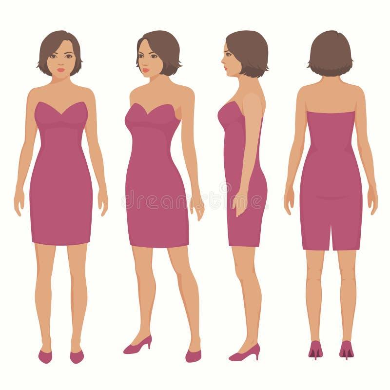 Frau lokalisiert im Kleid, in der Front, in der Rückseite und in der Seitenansicht vektor abbildung