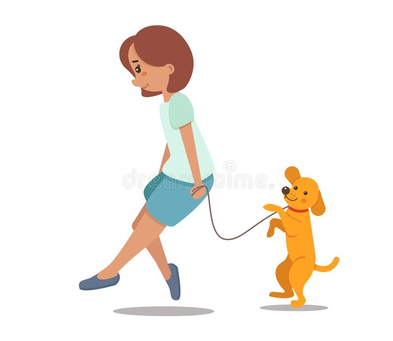 Frau, Mädchen, das mit Hund geht Labrador, Retriever vektor abbildung