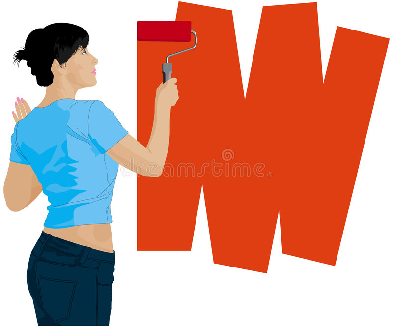 Frau malt eine Wand lizenzfreie abbildung