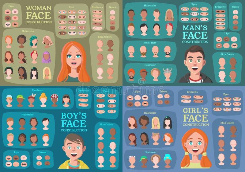 Frau, Mann, Mädchen, Jungen-Charakter-Erbauer vektor abbildung