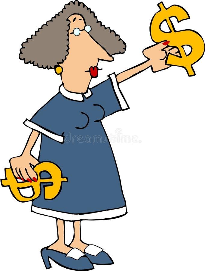 Frau mit $$ lizenzfreie abbildung