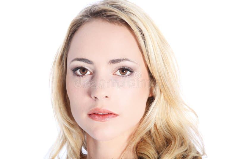 Frau mit ausdruckslosem Gesicht lizenzfreies stockbild