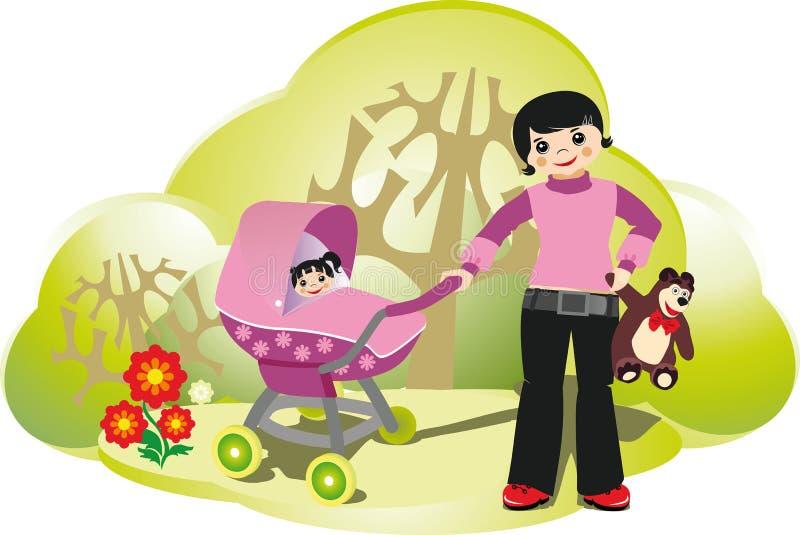 Frau mit babystroller im Park lizenzfreie abbildung